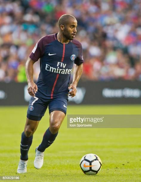 Paris SaintGermain midfielder Lucas Moura controls the ball during an International Champions Cup match between AS Roma and Paris SaintGermain on...