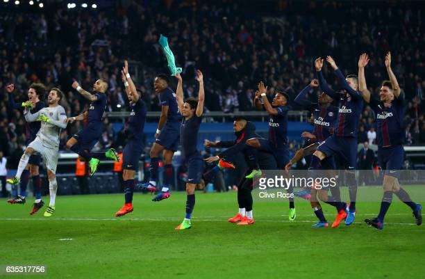 Paris SaintGermain players celebrate victory after the UEFA Champions League Round of 16 first leg match between Paris SaintGermain and FC Barcelona...