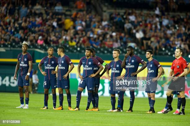 Paris SaintGermain players line midfield for penalty picks at the end of an International Champions Cup match between AS Roma and Paris SaintGermain...