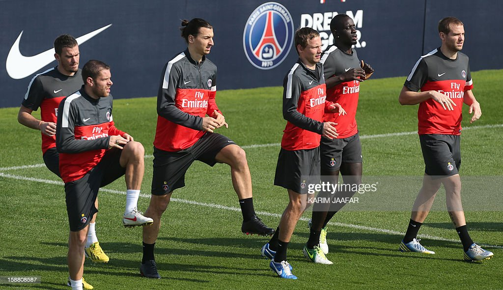 Paris Saint-Germain (PSG) players take part a training session at the Aspire Academy of Sports Excellence in the Qatari capital Doha on December 30, 2012. PSG is in Qatar for a week-long training camp before the resumption of the French Ligue 1 after the winter break.