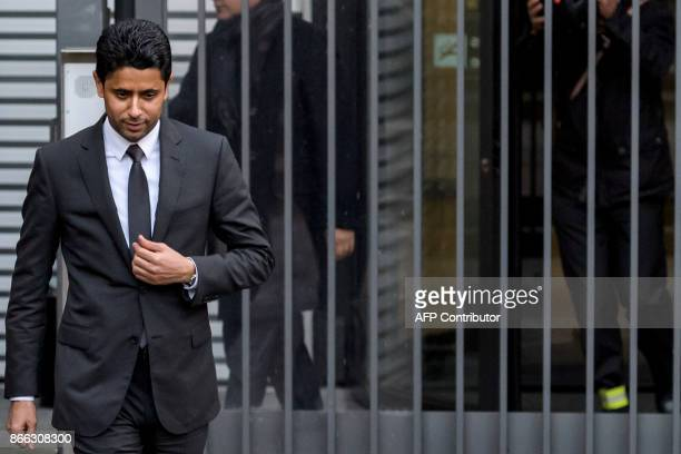 TOPSHOT Paris SaintGermain president and beIN Media chief Nasser alKhelaifi leaves the office of Swiss attorney general after his hearing on the...