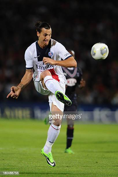 Paris SaintGermain Swedish forward Zlatan Ibrahimovic kicks the ball during the French L1 football match between FC Girondins de Bordeaux and Paris...