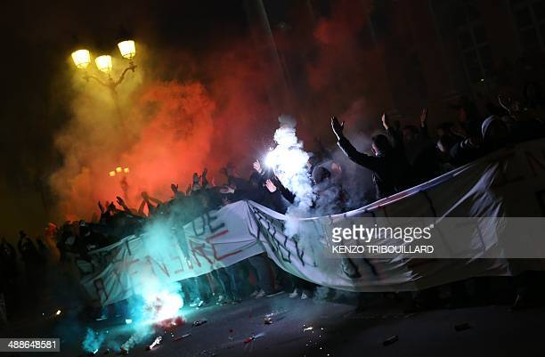 Paris SaintGermain ultras protest as the French football team was playing a French L1 match against Rennes at the Parc Des Princes stadium in Paris...