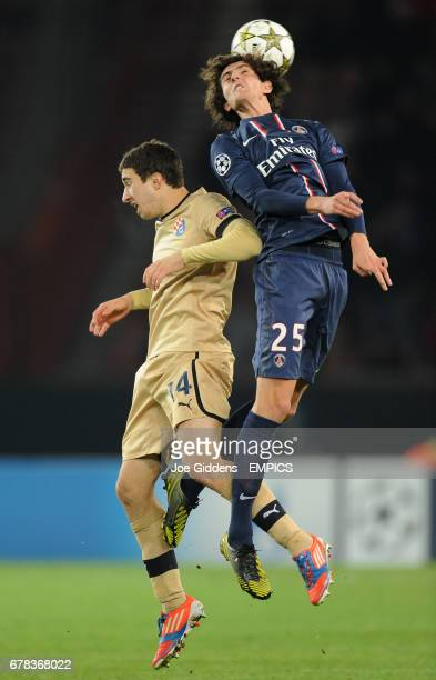 Paris SaintGermain's Adrien Rabiot and Dinamo Zagreb's Sime Vrsaljko battle for the ball