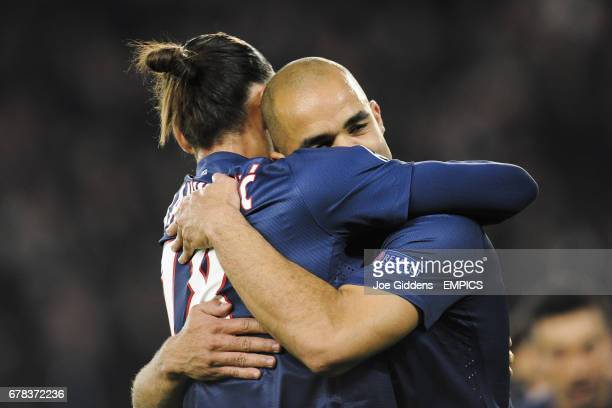 Paris SaintGermain's Alex celebrates his goal with Zlatan Ibrahimovic