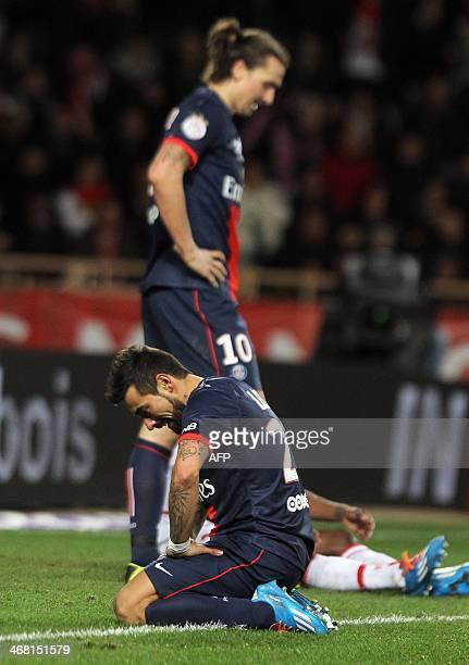 Paris SaintGermain's Argentine forward Ezequiel Lavezzi and Zlatan Ibrahimovic react during the French L1 football match between AS Monaco and Paris...