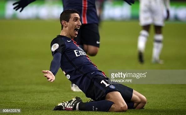 TOPSHOT Paris SaintGermain's Argentinian forward a genouix celebrates after scoring a goal during the French L1 football match between Paris...