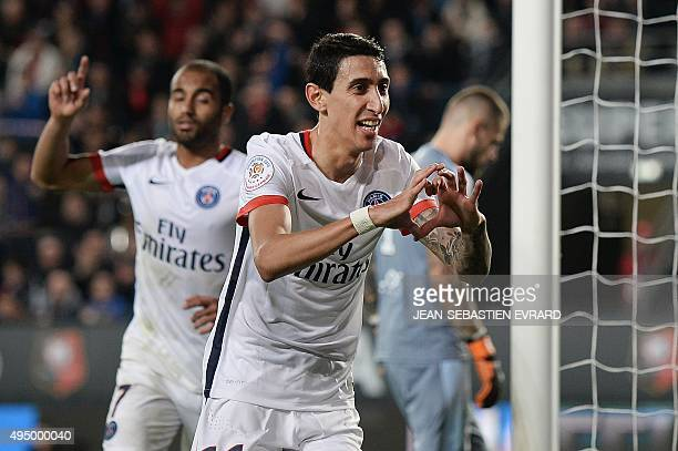 Paris SaintGermain's Argentinian forward Angel Di Maria celebrates after scoring a goal during the French L1 football match between Rennes and Paris...