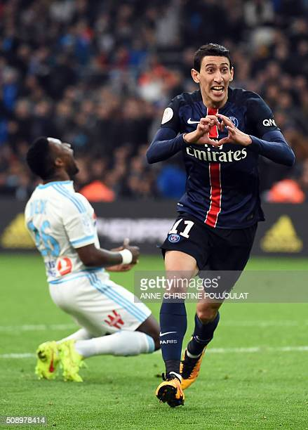 Paris SaintGermain's Argentinian forward Angel Di Maria celebrates after scoring a goal during the French L1 football match between Marseille and...