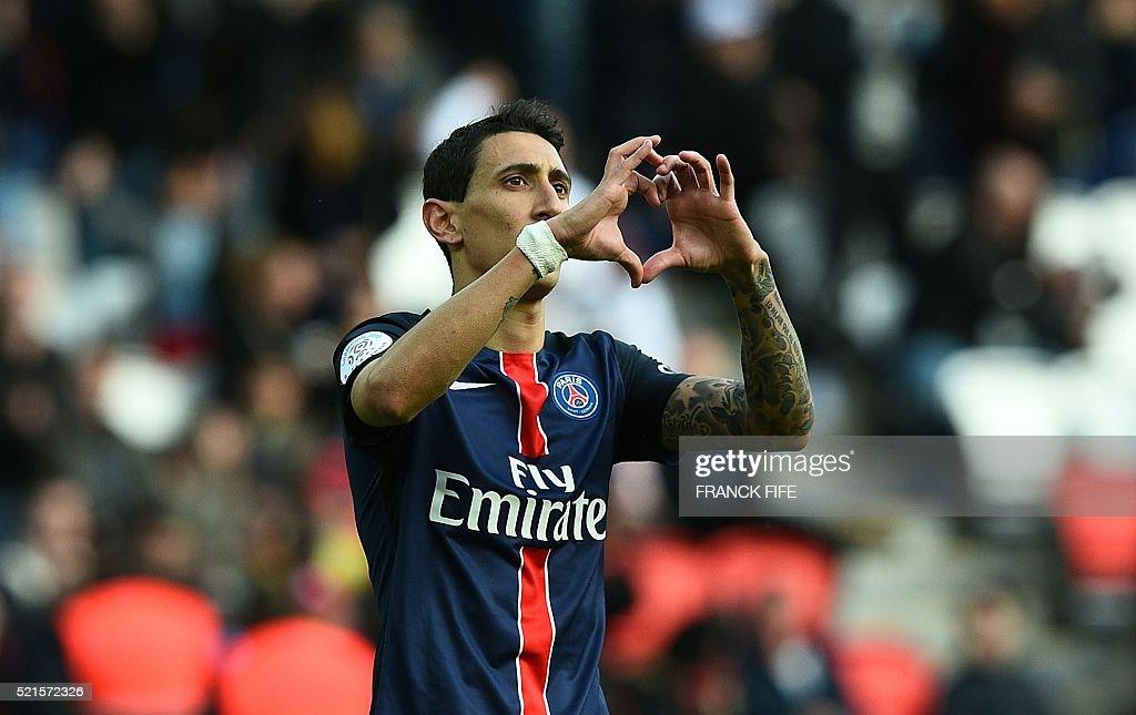 Paris SaintGermain's Argentinian forward Angel Di Maria celebrates after scoring a goal during the French L1 football match between Paris...