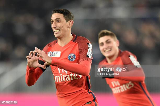 Paris SaintGermain's Argentinian forward Angel Di Maria celebrates after scoring a goal during the French League Cup football match between Bordeaux...