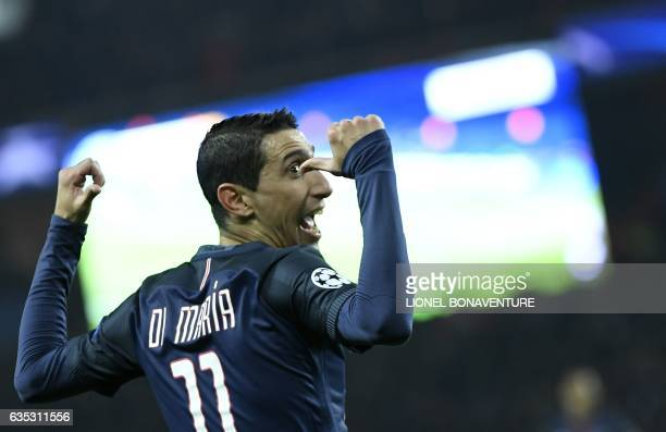 Paris SaintGermain's Argentinian forward Angel Di Maria celebrates after scoring a goal during the UEFA Champions League round of 16 first leg...