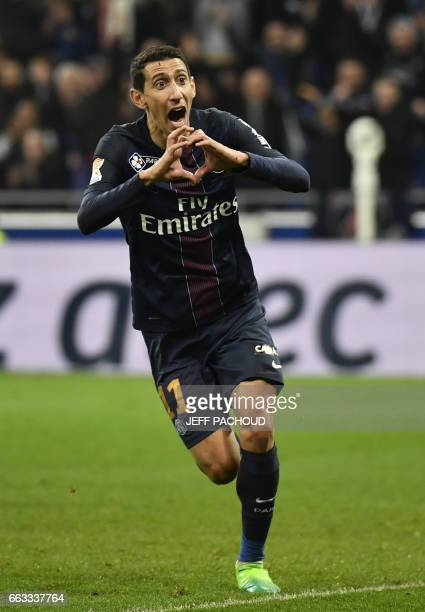 Paris SaintGermain's Argentinian forward Angel Di Maria celebrates after scoring a goal during the French League Cup final football match between...