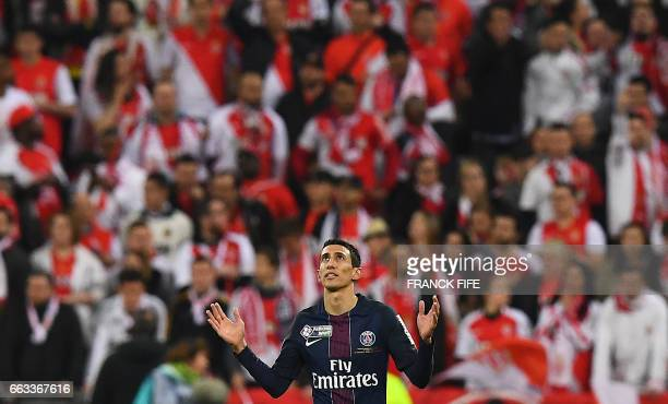 TOPSHOT Paris SaintGermain's Argentinian forward Angel Di Maria celebrates after scoring a goal during the French League Cup final football match...