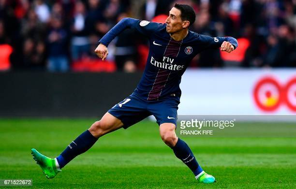 Paris SaintGermain's Argentinian forward Angel Di Maria celebrates after scoring a goal during the French L1 football match between Paris...