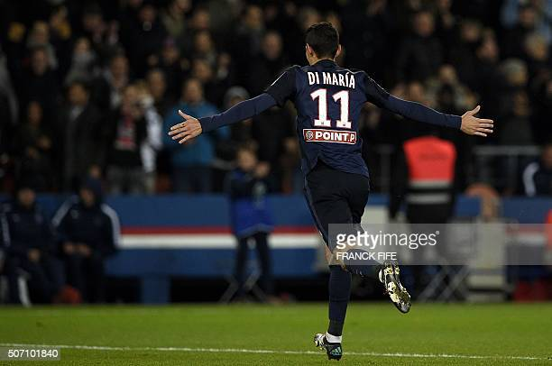 Paris SaintGermain's Argentinian forward Angel Di Maria celebrates his goal during the French League Cup football match between Paris SaintGermain vs...