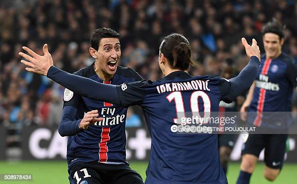 Paris SaintGermain's Argentinian forward Angel Di Maria celebrates with Paris SaintGermain's Swedish forward Zlatan Ibrahimovic after scoring a goal...