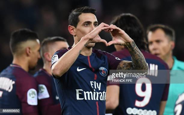 Paris SaintGermain's Argentinian forward Angel Di Maria celebrates opening the scoring during the French L1 football match between Paris SaintGermain...