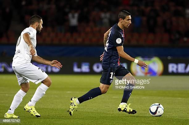 Paris SaintGermain's Argentinian forward Angel Di Maria controls the ball during the French L1 football match between Paris SaintGermain and EA...
