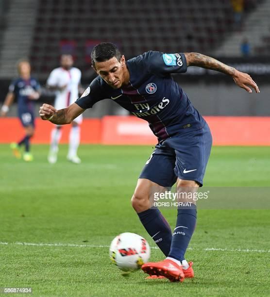 Paris SaintGermain's Argentinian forward Angel Di Maria controls the ball during the French Supercup Champions trophy football match Paris...