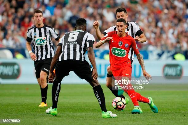 Paris SaintGermain's Argentinian forward Angel Di Maria controls the ball during the French Cup final football match between Paris SaintGermain and...