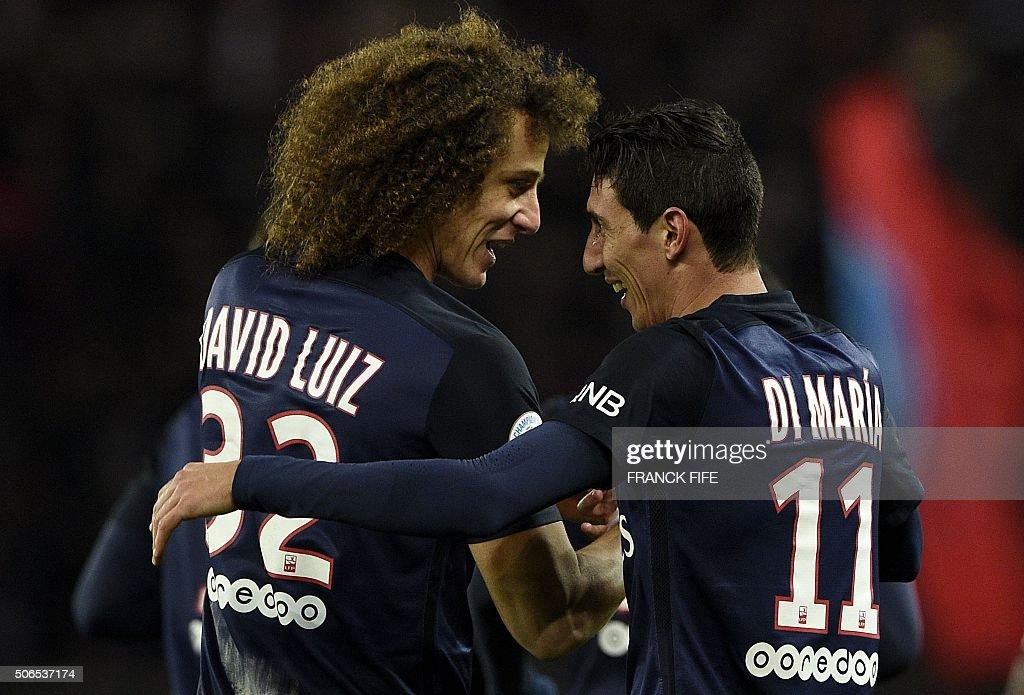 TOPSHOT Paris SaintGermain's Argentinian forward Angel Di Maria is congratuled by Paris SaintGermain's Brazilian defender David Luiz after scoring a...
