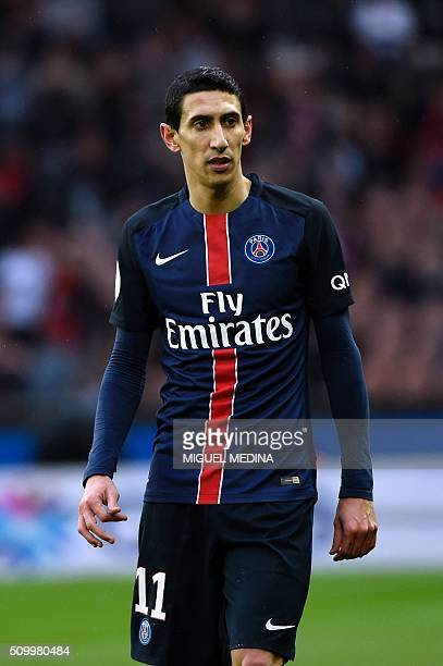 Paris SaintGermain's Argentinian forward Angel Di Maria looks on during the French L1 football match between Paris SaintGermain and Lille at the Parc...