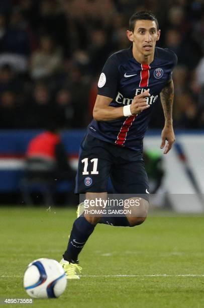 Paris SaintGermain's Argentinian forward Angel Di Maria passes the ball during the French L1 football match between Paris SaintGermain and EA...
