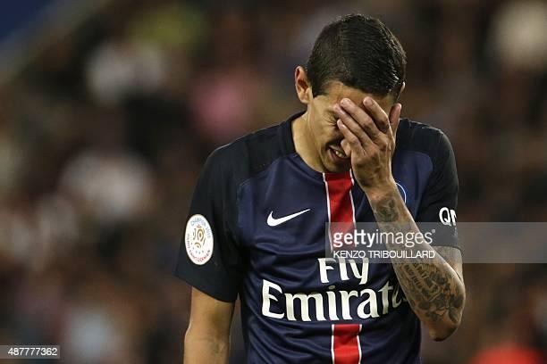 Paris SaintGermain's Argentinian forward Angel Di Maria reacts during the French L1 football match between Paris SaintGermain and Bordeaux at the...