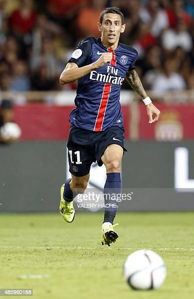 Paris SaintGermain's Argentinian forward Angel Di Maria runs after the ball during the French L1 football match Monaco vs Paris SaintGermain on...