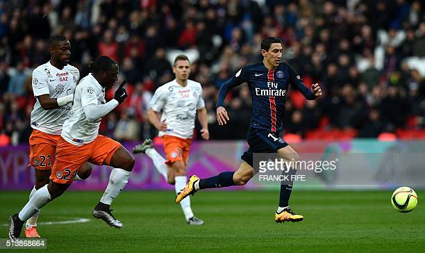Paris SaintGermain's Argentinian forward Angel Di Maria runs with the ball during the French L1 football match between Paris SaintGermain and...