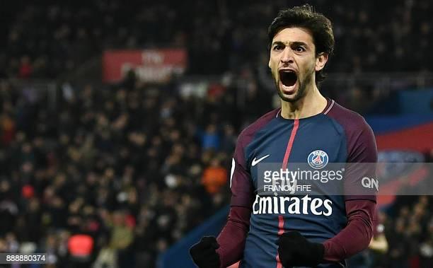 Paris SaintGermain's Argentinian forward Javier Pastore celebrates his goal during the French L1 football match between Paris SaintGermain and Lille...