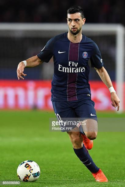 Paris SaintGermain's Argentinian forward Javier Pastore controls the ball during the French L1 football match between Paris SaintGermain and...