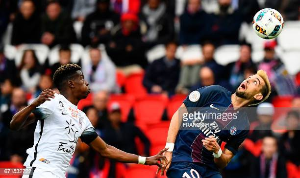 Paris SaintGermain's Argentinian forward Javier Pastore eyes the ball during the French L1 football match between Paris SaintGermain vs Montpellier...