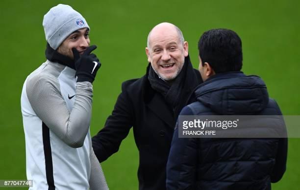 Paris SaintGermain's Argentinian forward Javier Pastore jokes with Paris SaintGermain's Qinari president Nasser AlKhelaifi and Paris SaintGermain's...