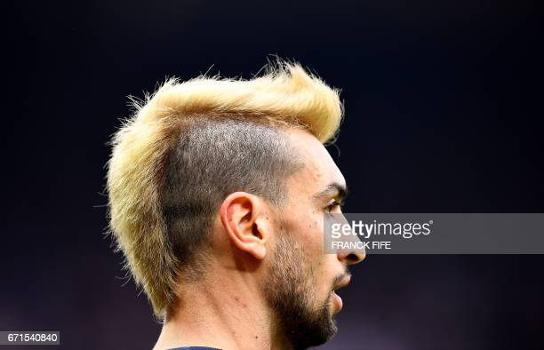 Paris SaintGermain's Argentinian forward Javier Pastore reacts during the French L1 football match between Paris SaintGermain vs Montpellier at the...