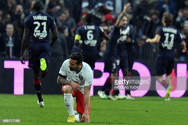 Paris SaintGermain's Argentinian midfielder Ezequiel Lavezzi reactsat the end of the French L1 football match between Bordeaux and ParisSaintGermain...