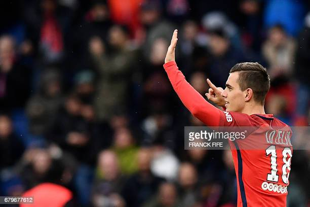 Paris SaintGermain's Argentinian midfielder Giovani Lo Celso celebrates his goal during the French L1 football match Paris SaintGermain versus Bastia...