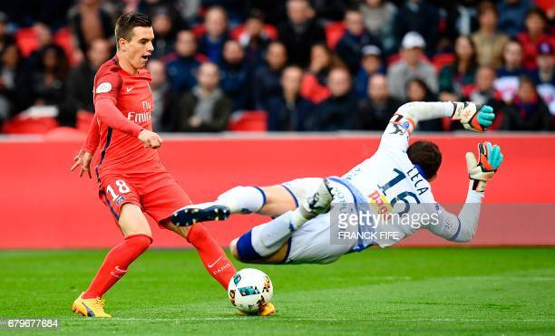 Paris SaintGermain's Argentinian midfielder Giovani Lo Celso shoots to score a goal during the French L1 football match Paris SaintGermain versus...