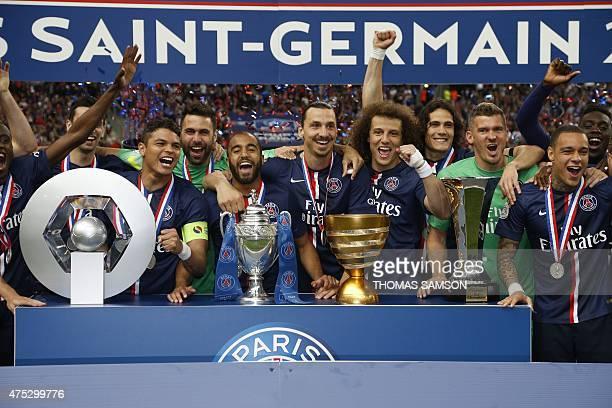 Paris SaintGermain's Argentinian midfielder Javier Pastore Brazilian defender Thiago Silva Italian goalie Salvatore Sirigu Brazilian midfielder Lucas...
