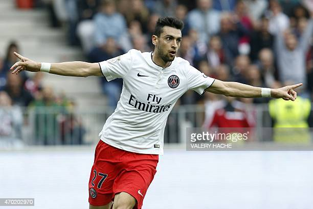 Paris SaintGermain's Argentinian midfielder Javier Pastore celebrates after scoring a goal during the French L1 football match Nice vs Paris...