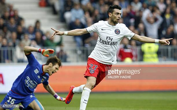 Paris SaintGermain's Argentinian midfielder Javier Pastore celebrates after scoring a goal during the French L1 football match between Nice and Paris...