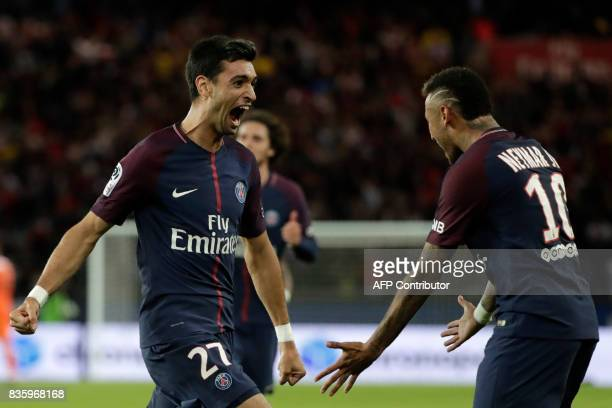 Paris SaintGermain's Argentinian midfielder Javier Pastore celebrates with Paris SaintGermain's Brazilian forward Neymar after scoring a goal during...