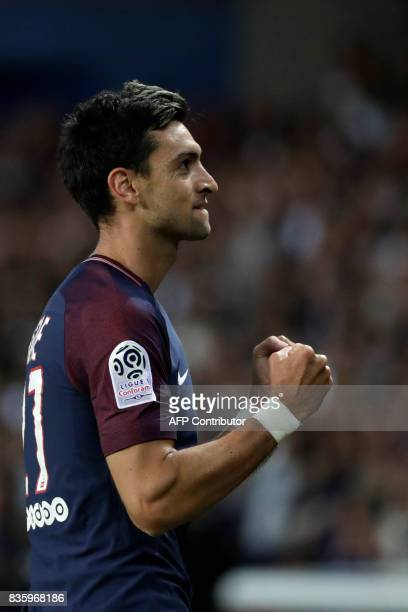 Paris SaintGermain's Argentinian midfielder Javier Pastore celebrates after scoring a goal during the French L1 football match Paris SaintGermain vs...