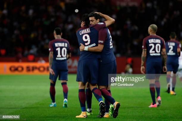 Paris SaintGermain's Argentinian midfielder Javier Pastore celebrates after scoring a goal with Paris SaintGermain's Uruguayan forward Edinson Cavani...