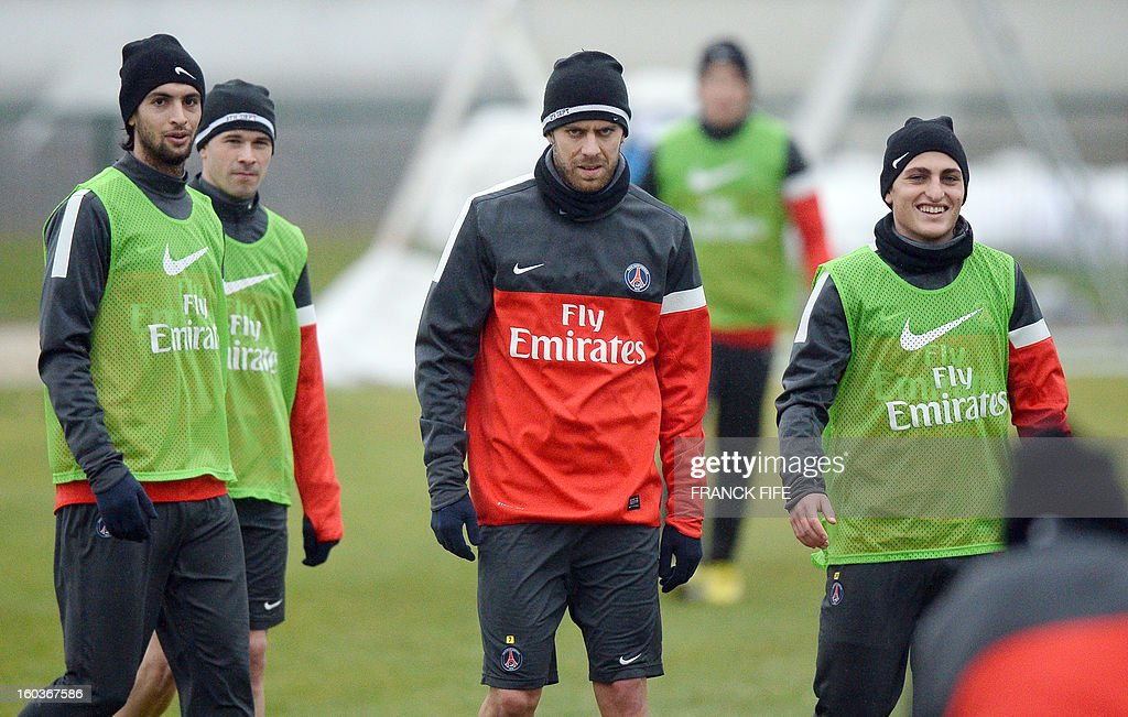 Paris Saint-Germain's Argentinian midfielder Javier Pastore, French defender Christophe Jallet, French midfielder Jeremy Menez and Italian midfielder Marco Verratti are pictured training session on January 30, 2013 at the Camp des Loges in Saint-Germain-en-Laye, west of Paris.