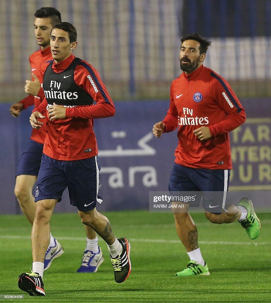 Paris Saint Germain s PSG Argentinian trio Javier Pastore L