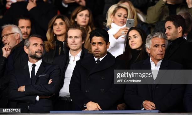 Paris SaintGermain's assistant general manager Jean Claude Blanc Paris SaintGermain's Qatari president Nasser AlKhelaïfi and Nice's French club...