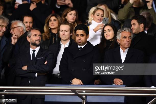 Paris SaintGermain's assistant general manager JeanClaude Blanc Paris SaintGermain's Qatari president Nasser AlKhelaifi and Nice's French club...
