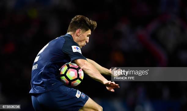 TOPSHOT Paris SaintGermain's Belgian defender Thomas Meunier controls the ball during the French Cup semifinal match between Paris SaintGermain and...